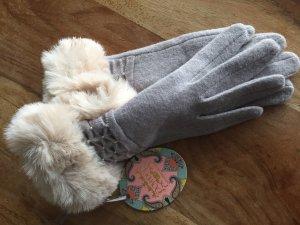 Gebreide handschoenen lichtgrijs-wolwit