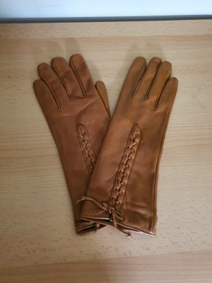 Zara Leather Gloves brown-cognac-coloured leather