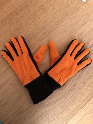 Guanto in pile nero-arancione
