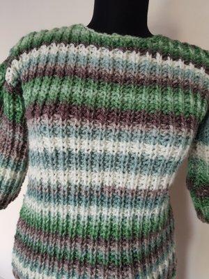 Handstrick Pullover a maglia grossa grigio chiaro-grigio scuro