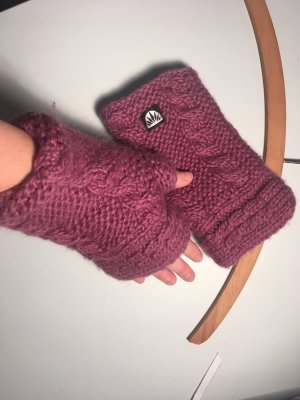 Knitted Gloves silver-colored-grey violet wool