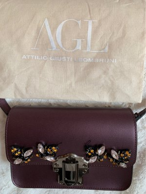 AGL Crossbody bag brown violet imitation leather