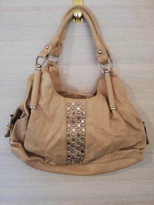 Handtasche aus Kunstleder in beige