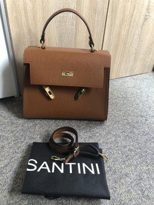 Handtasche aus Leder / Santini mit Schulterriemen und Staubbeutel