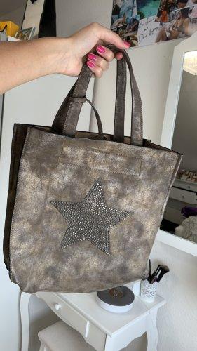 Handtasche braun mit Stern Strass