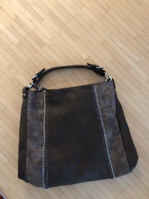 Handtasche braun Silber neu DinA4