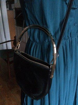 Handtasche, Clutch, Schultertasche, schwarz, Kupfer, Bügeltasche, MNG, wie neu