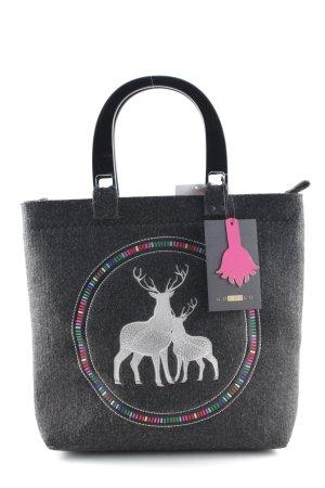 Handtasche dunkelgrau-silberfarben schlichter Stil