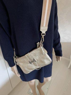 Handtasche gold  mit zipp mit 2 Ledergürtel und kurzen gurt zum umhängen