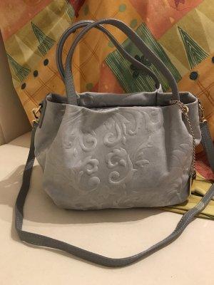 Handtasche grau Leder mit Blumenmuster -Prägung