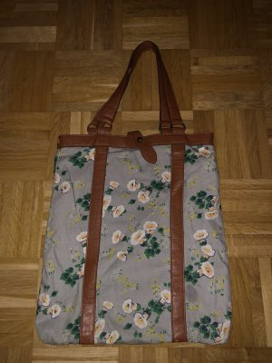 Handtasche, grau mit Blumen,
