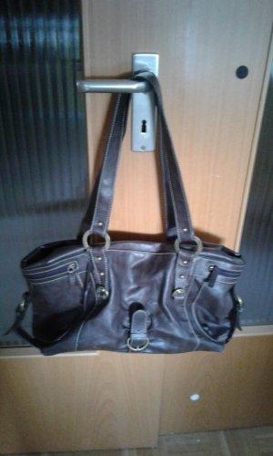 Handtasche groß L.Credi Kunstleder dunkelbraun