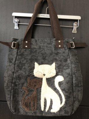 Handtasche Katze Anthrazit
