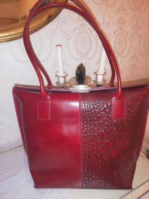 Handtasche Leder weinrot