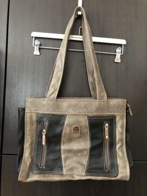 Handtasche oliv schwarz