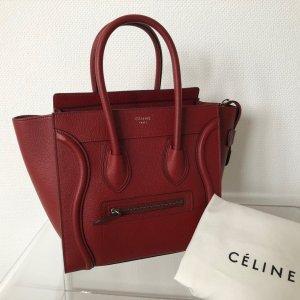 Celine Carry Bag dark red leather