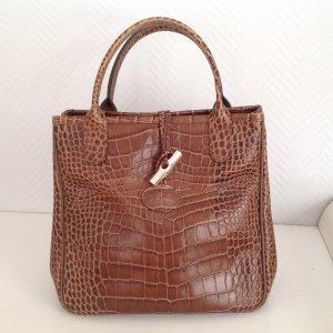 Handtasche Roseau Longchamp in Krokooptik cognac