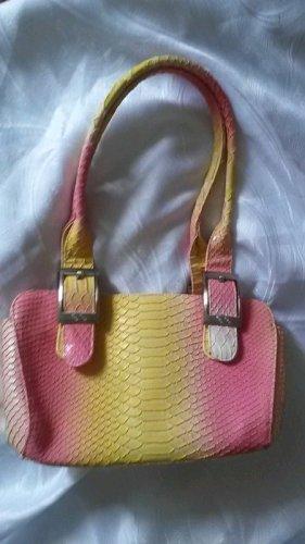 Handbag yellow-pink mixture fibre