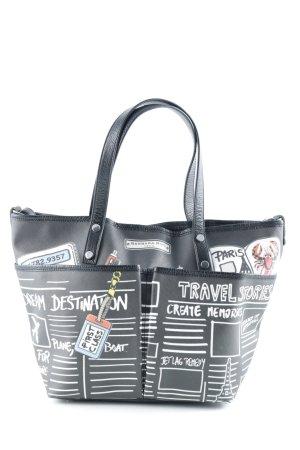 Handtasche schwarz Allover-Druck
