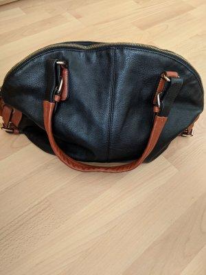 Handtasche Schwarz mit braunen Elementen
