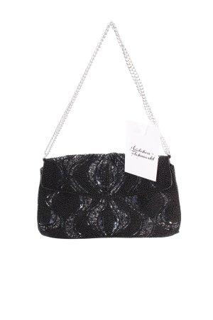 Handtasche schwarz Perlenverzierung