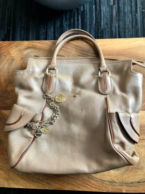 Aigner Pouch Bag grey brown-camel leather