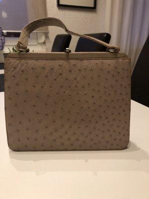 Handtasche * Straußenleder * Vintage * grau rosé