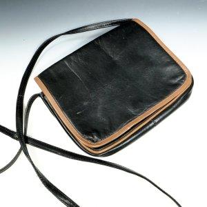 Handtasche Umhängetasche 90er Jahre Toyco Leder schwarz/braun 21 x 17 cm zeitlos
