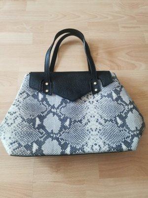 Handtasche Vera Pelle Schlangenoptik Tasche Echtleder grau wie Neu