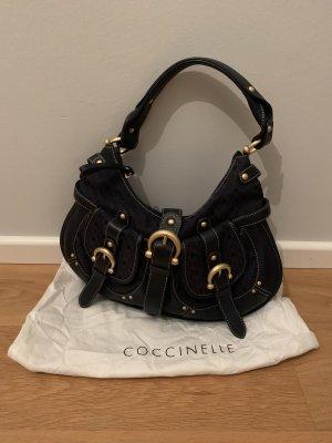 Handtasche von Coccinelle in dunkelblau mit goldfarbenen Details, top Zustand
