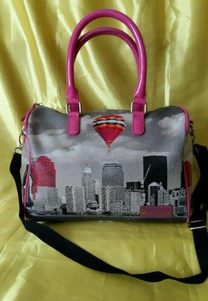 Handtasche von Greenwich, grau / pink mit Muster - gebraucht, sehr guter Zustand