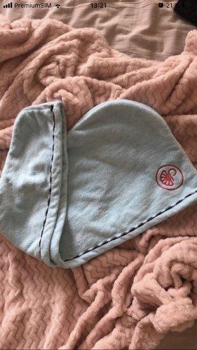 Chapeau en tissu bleu azur-saumon