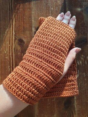 By you Handmade Fingerless Gloves brown-cognac-coloured