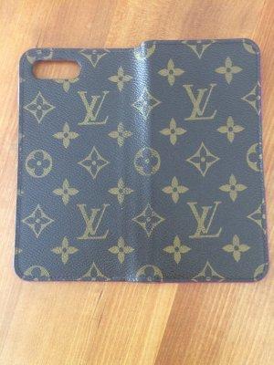 Louis Vuitton Étui pour téléphone portable brun foncé-rouge framboise