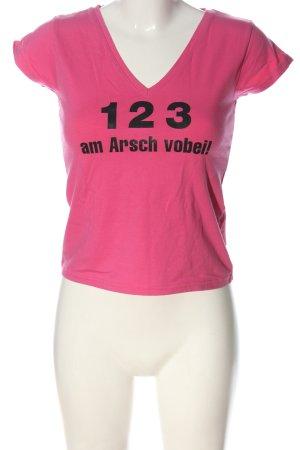 Hanes Knitted Jumper pink-black printed lettering casual look
