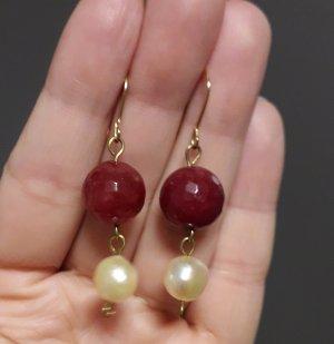 Hangefertigte Ohrringe mit Achat und echte Perlen aus Italien