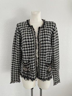 Hannentritt Muster Blazer Jacke gr 40 schwarz weiß