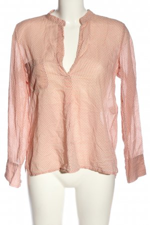 Hannes Roether Langarm-Bluse creme-rot Allover-Druck Casual-Look