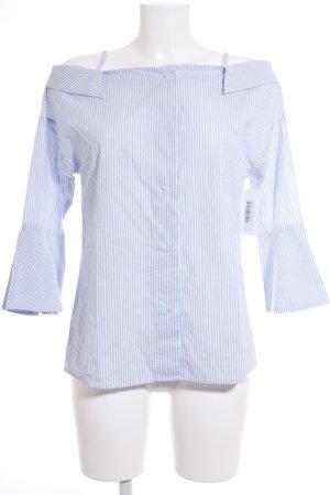 Haoduoyi Carmen-Bluse weiß-blau Streifenmuster