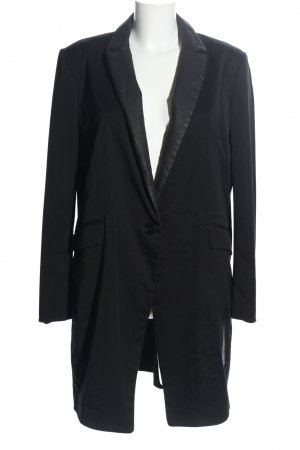 Happiness Long-Blazer schwarz Motivdruck Casual-Look