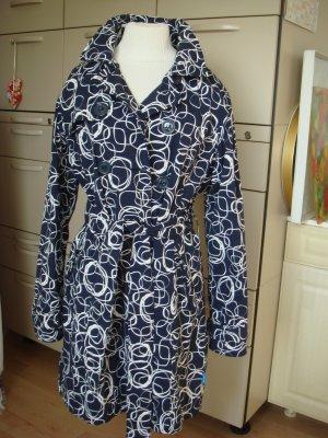 HAPPY RAINY DAIS - Mantel blau weiß gemustert L Gr. 40 42 - einzigartig ausgefallen
