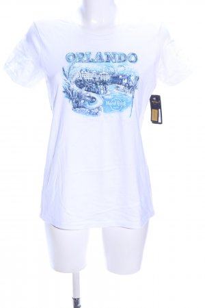 Hard Rock Cafe Print-Shirt weiß-blau Motivdruck Casual-Look