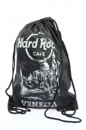Hard Rock Cafe Bolsa de gimnasio negro-blanco estampado temático look casual