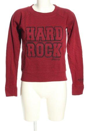 Hard Rock Cafe Sweatshirt rot-schwarz Motivdruck Casual-Look