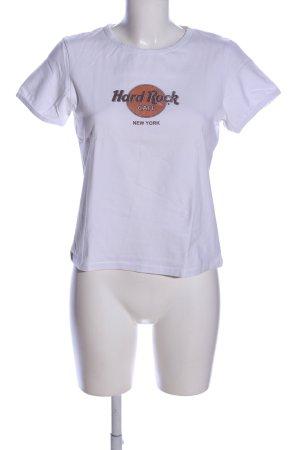 Hard Rock Cafe T-Shirt weiß-braun Schriftzug gedruckt Casual-Look