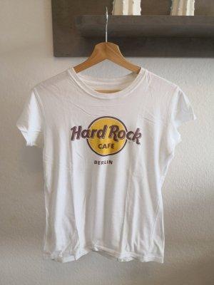 Hard Rock Cafe T-Shirt Berlin S 36 Damen weiß gelb
