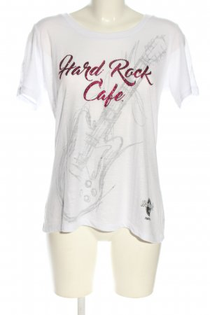Hard Rock Cafe T-Shirt weiß-pink Motivdruck Casual-Look