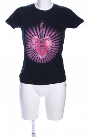 Hard Rock Cafe T-Shirt schwarz-pink Motivdruck Casual-Look