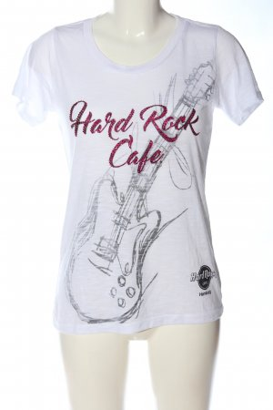Hard Rock Cafe T-Shirt weiß-schwarz Motivdruck Casual-Look