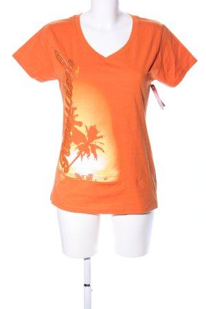 Hard Rock Cafe T-Shirt hellorange Motivdruck Casual-Look